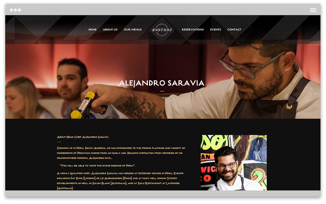 Pastuso Peruvian Bar and Grill - Website Design